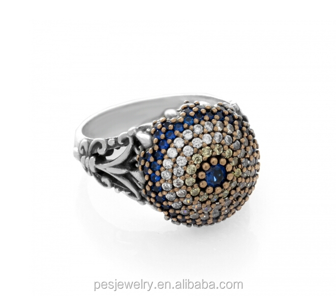 cz women silver turkish rings eye product for sapphire sterling evil stone detail blue
