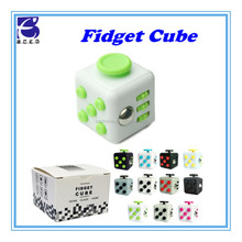 Fun Fidget 6 sided Cube Adult Anxiety Stress Relief Toys Gift Cube 9 COLOURS-With Carry Caae and Box
