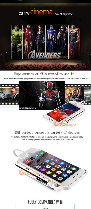 Aiptek - I60 Mobile Cinema DLP 70 Ansi lumens Mini Handy Projector For Iphone 6 & Ipad With 3000 mAh Power Bank
