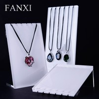 FANXI Factory Custom Jewelry Necklace Display Shelf Stand Set 6 Notches Rack White Silver Acrylic Display Cases Wholesale