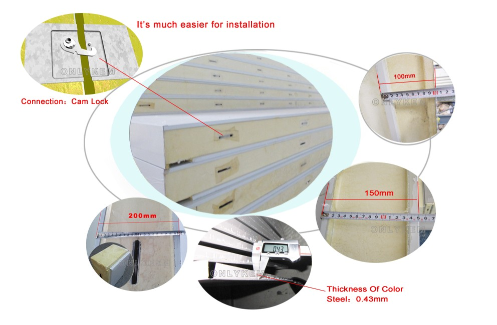 food cold room B2 fire protection CFC-Free pu panel