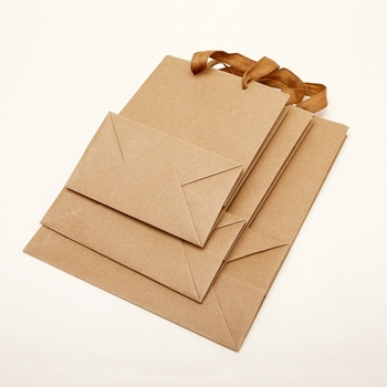 Wholesale printed kraft paper shopping bag with handle