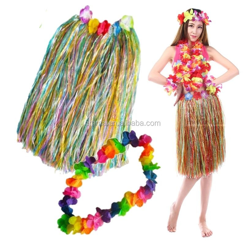 HAWAIIAN HULA SKIRT 80cm AND 4 PC LEI SET LADIES LUAU FANCY DRESS COSTUME