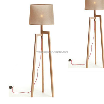 Modern Wood Floor Standing Lamps Fabric Lampshade Red Cord Wooden Tripod Base Lamp