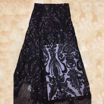 Beautifical Wholesale african net lace fabric wedding lace with sequins black french lace ML1N756
