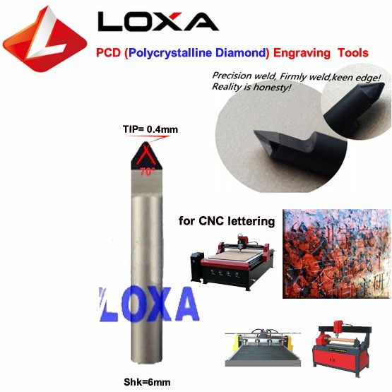 LOXA E70-0 4 Diamond Grinding tool ,PCD engraving tool ,cnc Bits for CNC  carving stone letters / lettering tools