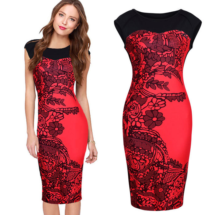95cb765cebb Get Quotations · 2015 New Design Chinese Ink Paintings Style Bodycon Dress  Sleeveless O Neck Sheath Knee Short Dress