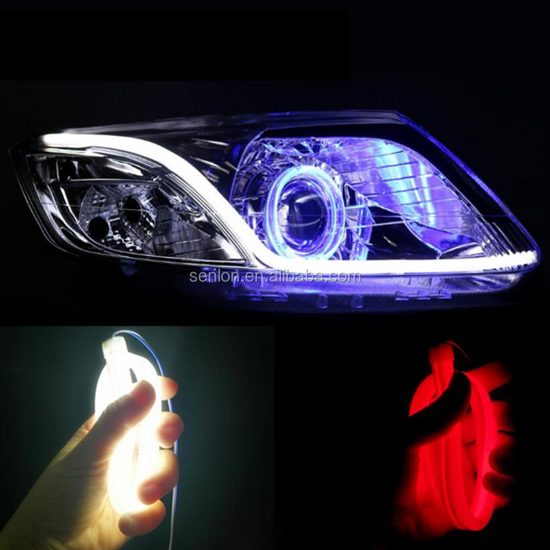 Dual colors car auto flexible tear eye led strip drl flowing light tube 45cm 60cm 85cm turn light daytime running light