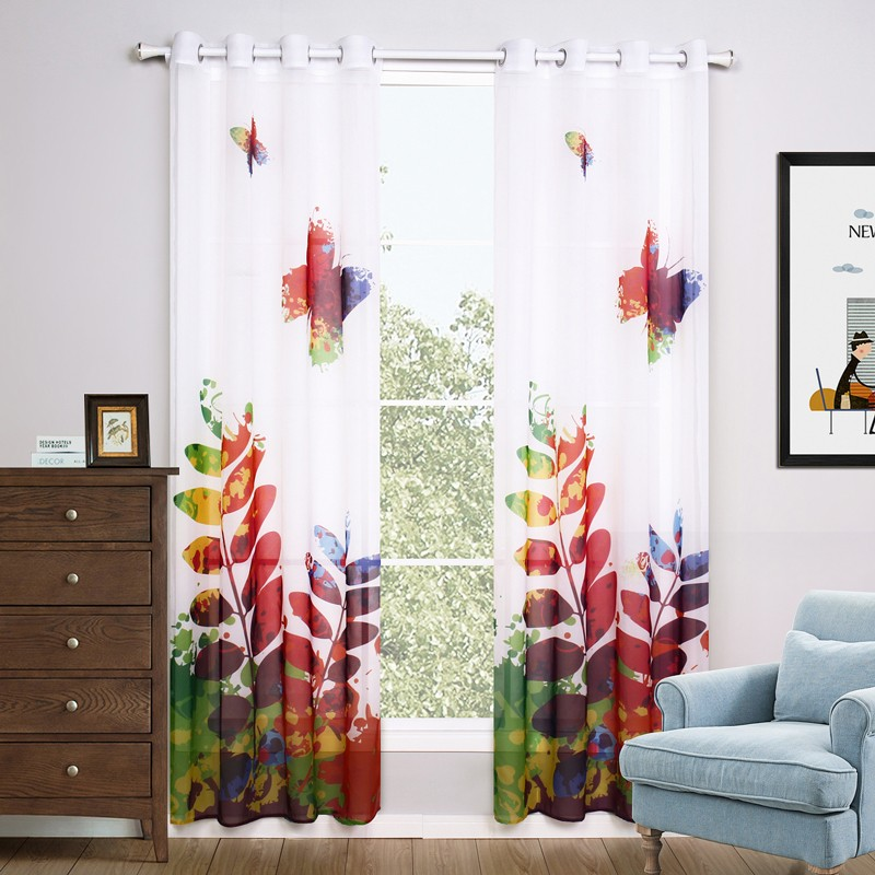 BBJ A Couple Sheer Curtains Modern European Style Curtains butterfly Curtain