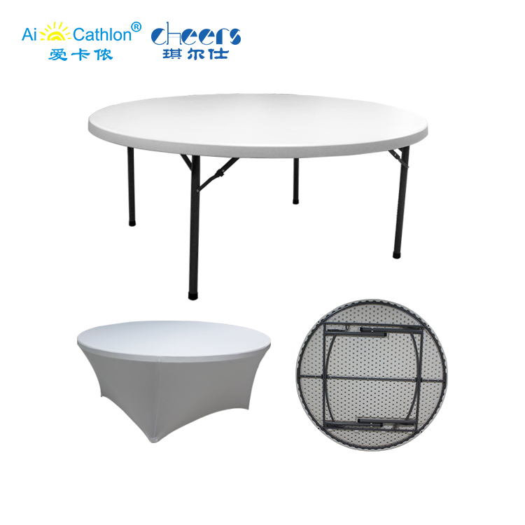 4-foot HDPE Folding Table 120cm Dia Home Party Plastic Round Table for Events