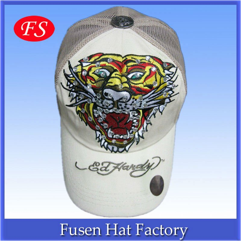 ed hardy 5-panel Baseball Cap with Mesh back with rhinestone
