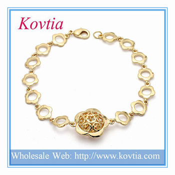 Indian Gold Kada Designs Flower Chain Link Bracelets Gold Plated
