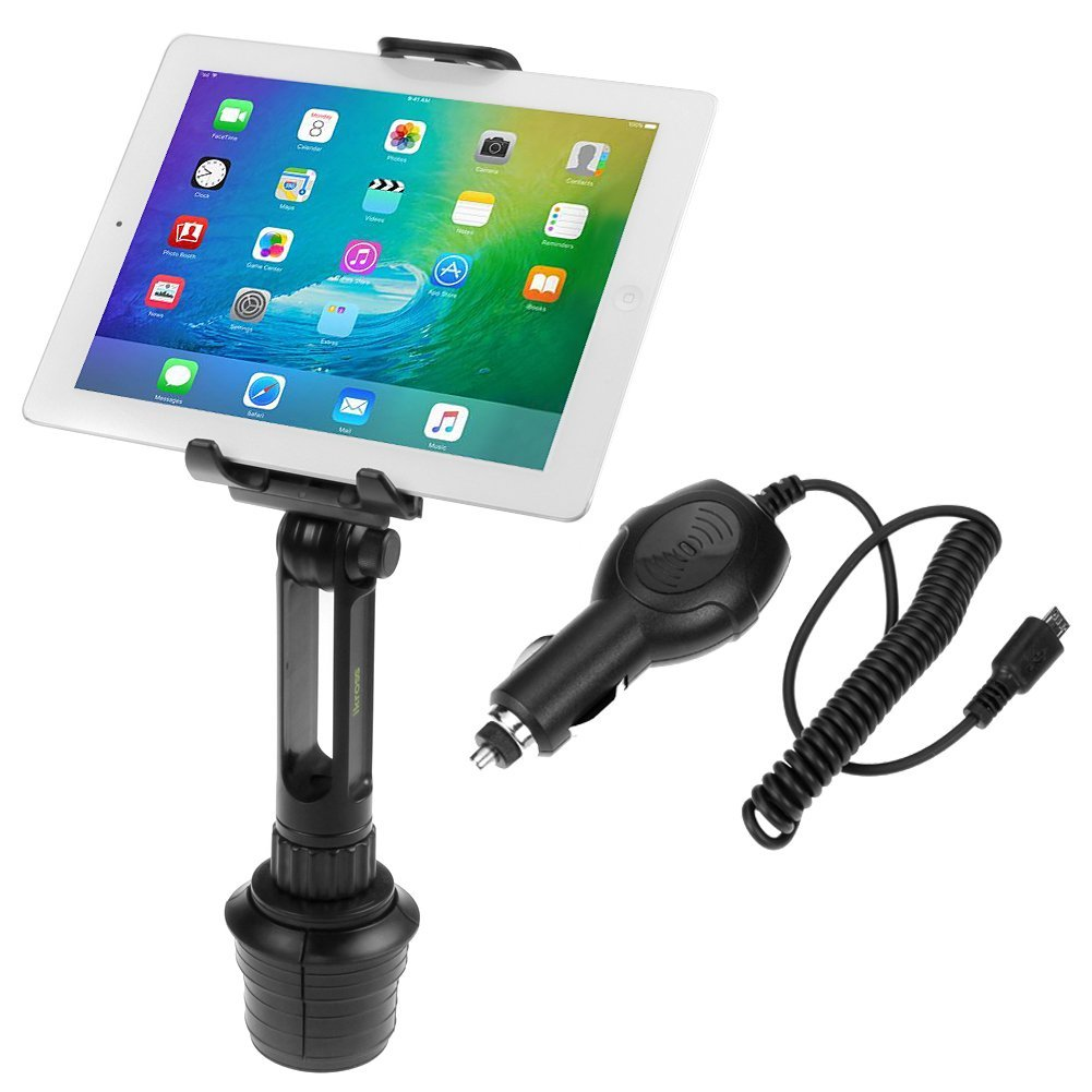 iKross 2-in-1 Tablet & Cellphone Adjustable Swing Long Arm Cup Mount Holder Car Kit + Car Charger for Amazon Kindle Fire HD, Fire 7-inch, Fire HD 10, 10.1, Fire HD 6, Fire HD 8, Fire HDX 8.9 and more Tablet
