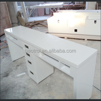white 2 seats manicure table nail salon furniture nail table with acrylic solid surface top - Manicure Table