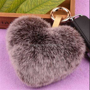 Cute Creative pom poms keychain real rabbit fur ball