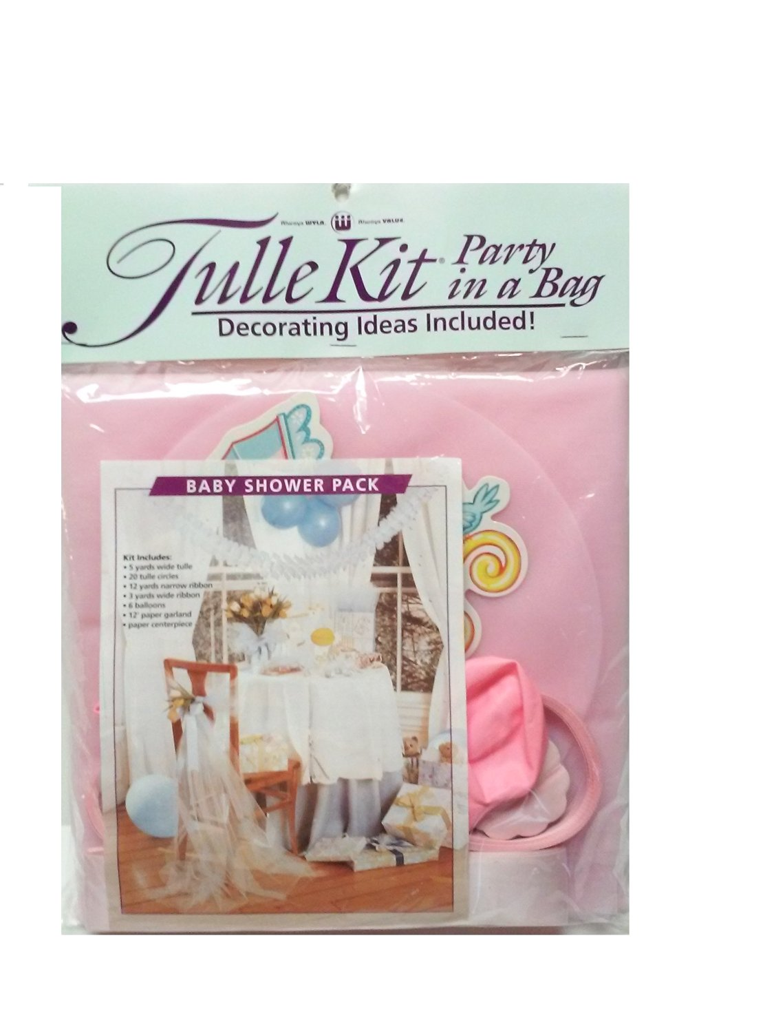 Tulle Kit Party in a Bag Baby Shower Pack - Light Pink
