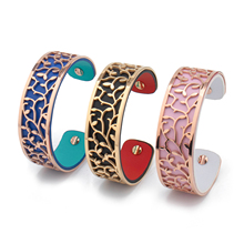 Best-selling Personalized Stainless Steel Interchangeable Genuine Leather  Cuff Women Bangle Bracelet