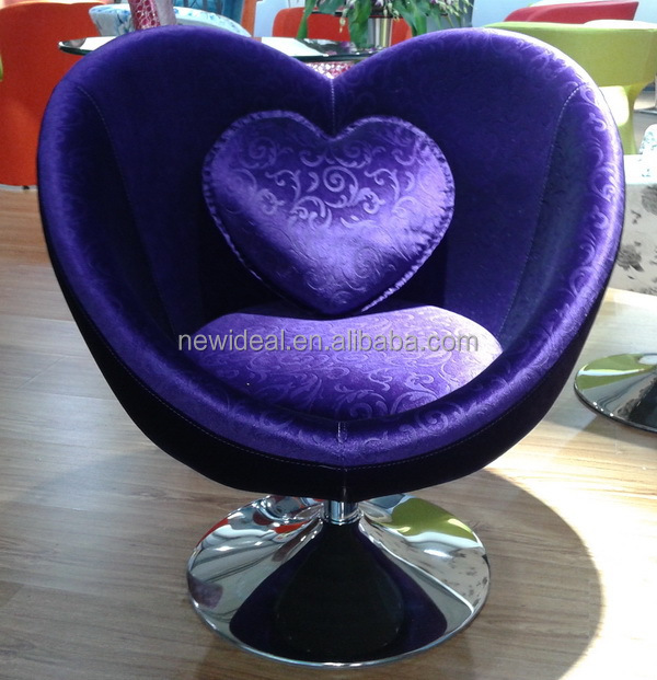 New item heart shape fabric chair with cushion and chassis (NS2612)