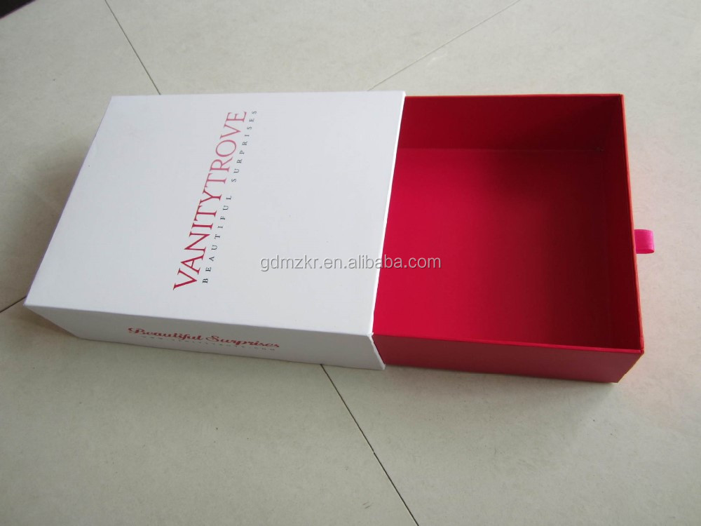 Custom wholesale paper luxury drawer box packaging apparel with ribbon handle