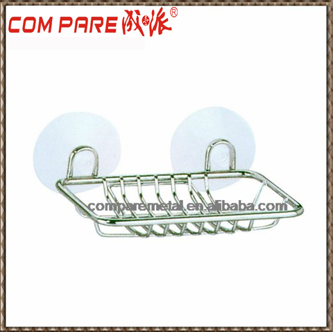High quality iron wire bathroom rack basuction cup soap rack
