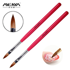 ANGNYA High Quality New Red Color Wood Handle Oval Shape Pure Kolinsky Sable Hair Acrylic Nail Brush