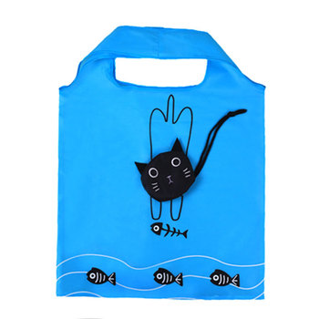 Cheaper polyester folding tote shopping bag promotional foldable shopping bag cute cat foldable shopping bags