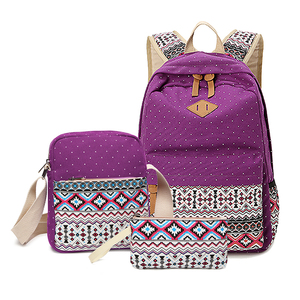 3Pcs/Sets Korean Girls Schoolbag Vintage Casual Women Backpacks Preppy Style School Canvas Book Bags for Teenage