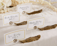 Gold Feather Place Card Holder Wedding