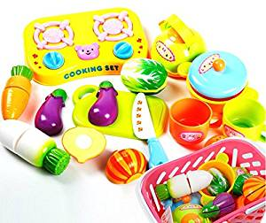 Kidcia Formula 14Pcs Plastic Vegetable Pretend Play Set In A Basket Plastic Kitchen Cutting Toy, Early Development and Education Chef Pretending Toy Young Chef Cookware for Kids Children(random color)