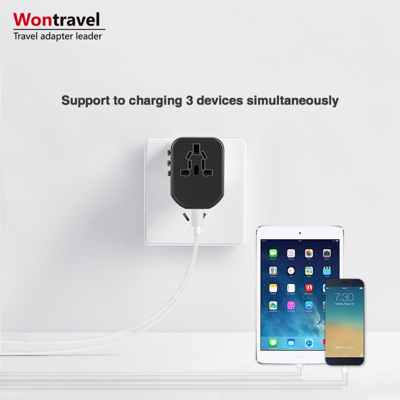 Wontravel All In One Universal Travel Adapter 2USB Ports International power wall charger adaptor with US EU UK AU Plug