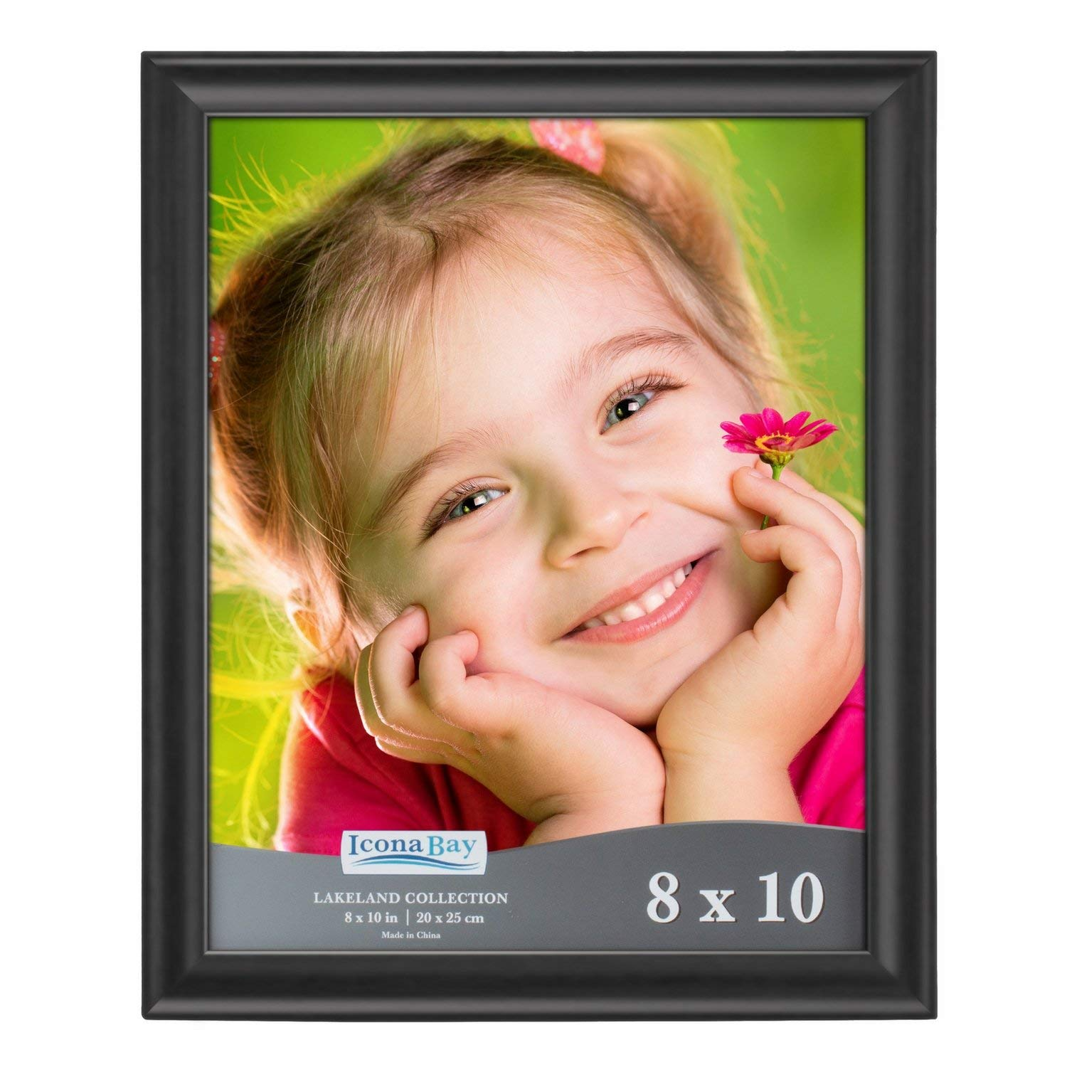Icona Bay 8x10 Picture Frame (1 Pack, Black Wood Finish), Photo Frames for Wall or Table, Photo Frame 8x10, Black Picture Frames 8 x 10, Black Photo Frames 8x10, Wood Frame, Lakeland Collection