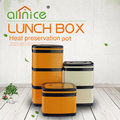 Protable handle 3 Layers stainless steel plastic thermos square lunch bento box food container