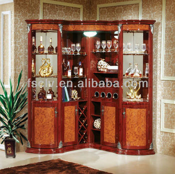 Wooden bar furniture wooden corner cabinet with wood bar for Wooden bar unit