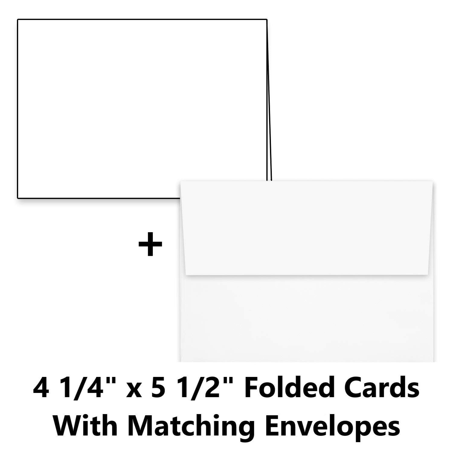 """Hamilco White Cardstock Thick Paper Blank Place Tent Folded A2 Cards - Greeting Invitations Stationary - 4 1/4 x 5 1/2"""" Heavy weight 80 lb Card Stock for Printer (100 Pack with Envelopes)"""