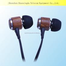 2016 new design in-ear wooden earphone and earbuds for Mobile Phone and laptop computer with MIC, get free samples