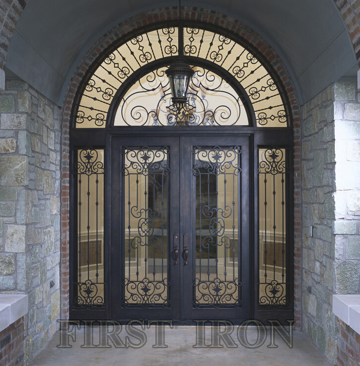 Wrought Iron Double Door With Transom Sidelights Luxury Entry Doors Front Product