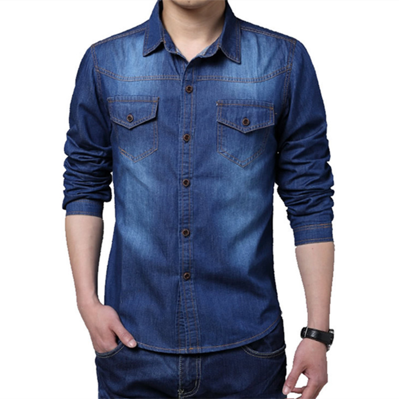 9f2b9c6ab93 Get Quotations · Mens Jeans Shirt Long Sleeve Brand 2015 Denim Shirt Men  Slim Fit Pocket Cotton Casual Blue