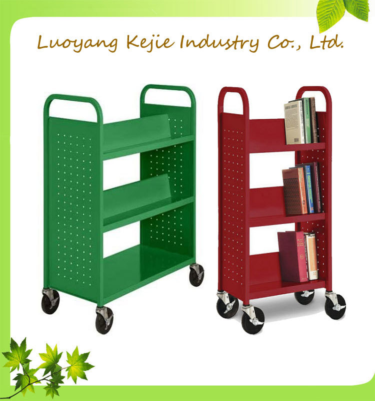 Iron 3 Layer Bookshelf Book Rack Shelving Library Trolley