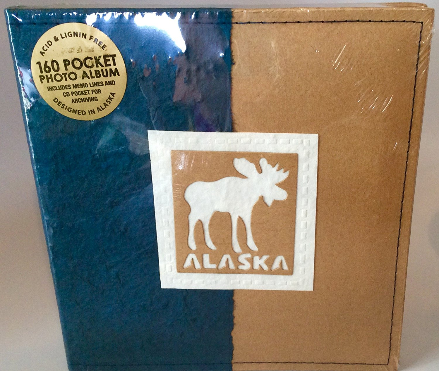 "New Alaska Photo Album 160 4x6"" Photos Blue Craft Paper Cover Moose"