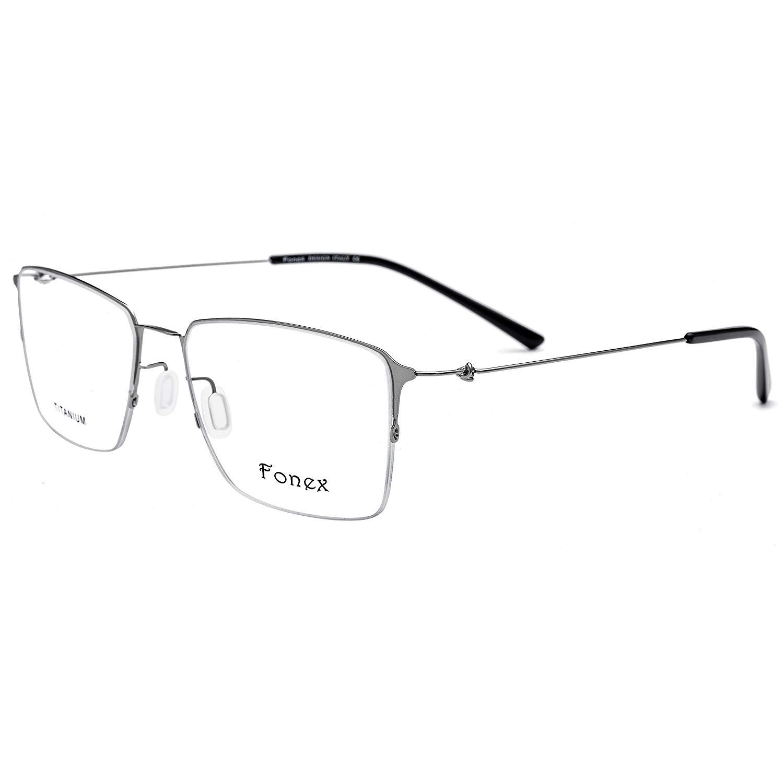 9fe56eecf33 Get Quotations · FONEX Men Square Ultralight Titanium Alloy Optical Glasses  Frame Eyewear 9861