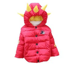 Free shipping 2016 Winter New infant boys snowsuit dinosaur hat thickening baby down coat A341