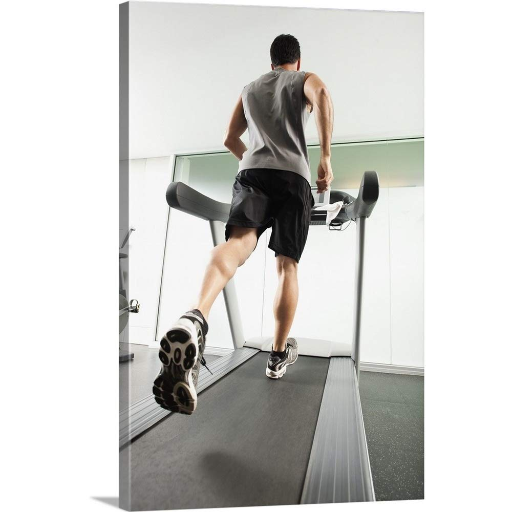"""Great Big Canvas Gallery-Wrapped Canvas Entitled Man Running on Treadmill 32""""x48"""""""