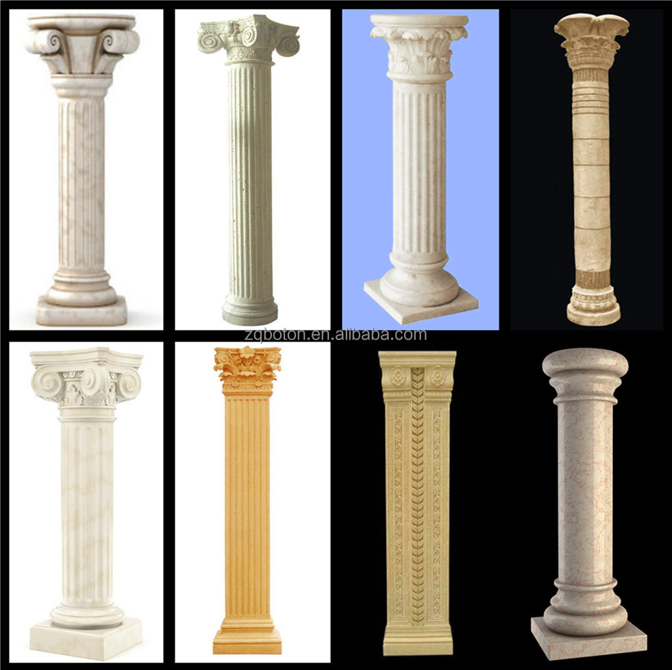 Small Decorative Natural Stone Column Hand Carved Stone