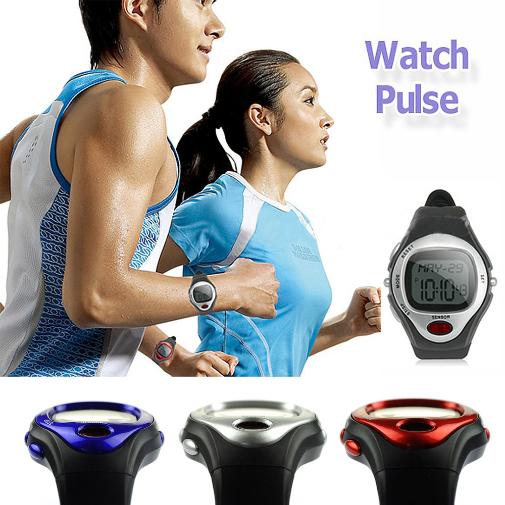Red Pulse Heart Rate Monitor Calorie Counter Wristwatch Fitness Sports Exercise