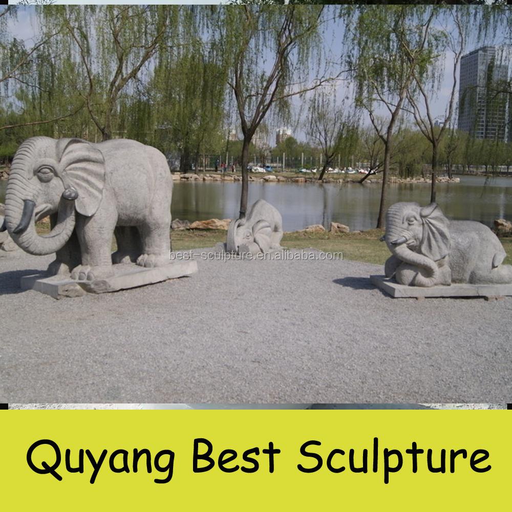 Large Granite Elephant Statues Garden Decoration Sculpture