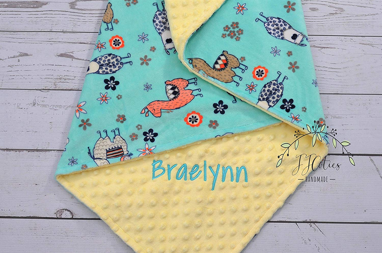 Minky llama baby blanket - Personalized Baby llama minky blanket - Llama blanket - Mint llama nursery - Llama blanket - Cactus blanket