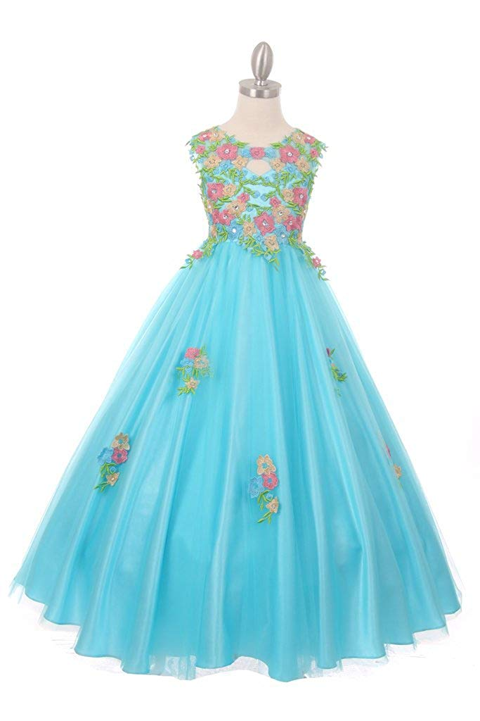 The Couture Dresses Beautiful All Over Hand Placed and Sewn Flower Embroidery Lace Dress, Aqua 16