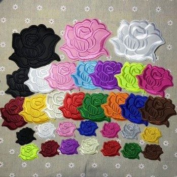 pink white rose patches embroidery flowers patches