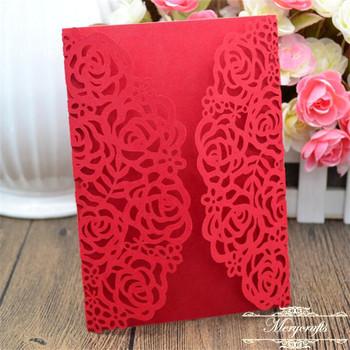 Laser Cut Rose Design Red Shimmer Wedding Invitation Card Wrap Buy