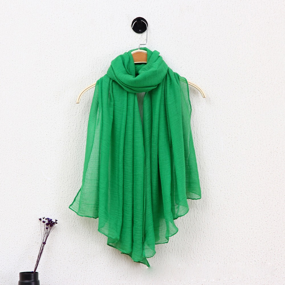 wholesale Promotional cheap ladies cotton ramie long plain color scarf
